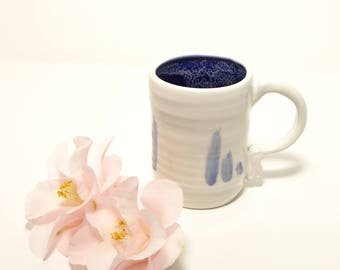 Blue Brush Strokes Mug: Blue and White, Contemporary Tableware, Modern Dinnerware