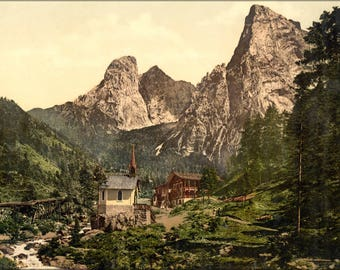 Poster, Many Sizes Available; Hinterbarenbad, Upper Bavaria, Germany 1890 Photochrom