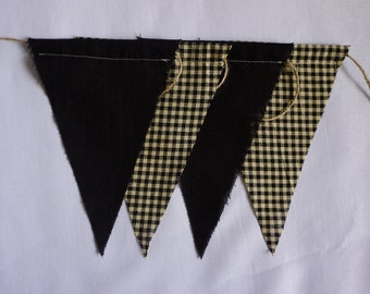 Farmhouse Plaid Bunting Banner- Fabric Banner- Red Bunting Banner- Wall décor