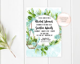 Bridal Shower Invitation, Bridal Shower Invite, Succulent Bridal Shower Invitation, Cactus Bridal Shower Invite, Boho Bridal Shower [505]