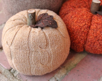 """Upcycled Tan Cable Knit Sweater Pumpkin 5"""" Fall Decor"""