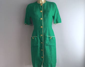 1980s Albert Nipon Linen emerald green dress Union made  size 10 UK