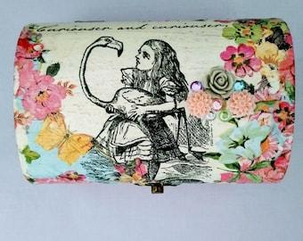 One of a kind decoupage Alice in Wonderland Shabby Chic Trinket Box, Jewellery Box, Storage Box
