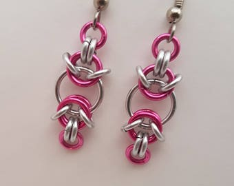 Pink and Silver Handmade Chainmaille Earrings