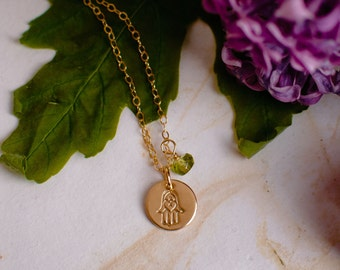 Small Hamsa Necklace - Gold Hamsa Necklace with Birthstone, Tiny Hamsa Necklace, Dainty Hamsa Necklace, Good Luck Charm, Judaica Necklace