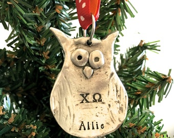 Chi Omega Ornament - Pewter Owl Ornament - Chi Omega Initiation Gift - Sorority Gift - Chi Omega Sorority Gift - Chi Omega Christmas Gift