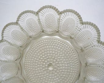 Antique hobnail plate, egg serving dish, clear hobnail glass, depression glass, Indiana glass