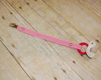 Pacifier Clip, Pink with White Saddle Stitch, Personalization Available, Ready to Ship, Free USA Shipping