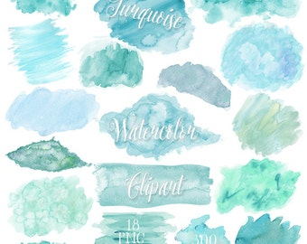 Turquoise Watercolor Clipart - Teal Watercolor Clip Art - PNG Watercolor Shapes / Splatters / Blobs / Textures Blue / Green Instant Download