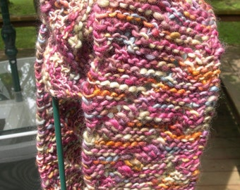 Hand-Knit Scarf  Diagonal Lace Pattern  Manos del Uruguay Wool Yarn