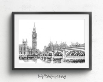London Skyline, London Print, London Large Poster, London Wall Art, London Cityscape, London Skyline Print, London Landscape London Wall Art