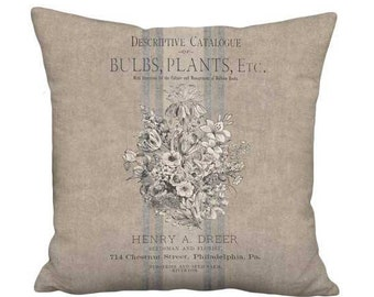 12x12 Inch - READY TO SHIP - Small Pillow with Insert - Rustic Grain Sack Style Country Bouquet
