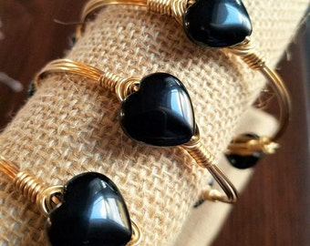 Black Agate Hearts Bangle, Bangles, Gifts for her, Bangles, heart Bracelets, Stone Bangles, Gemstone Bangles, Valentine's Day, Black Onyx