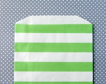 Green Horizontal Stripe Goody Bags / Favor Bags / Treat Bags (20) - 5 x 7.5 inches