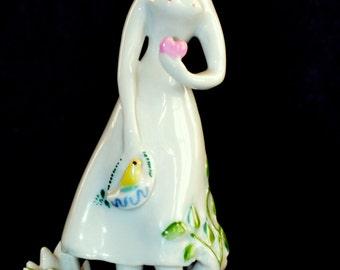 Vintage Mid Century Rosenthal Figurine Peynet Girl with Heart 5120 Studio Linie German Porcelain Statue