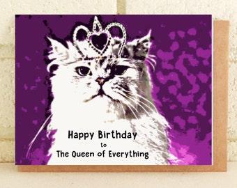 Queen Kitty Persian Cat Fun Birthday Card