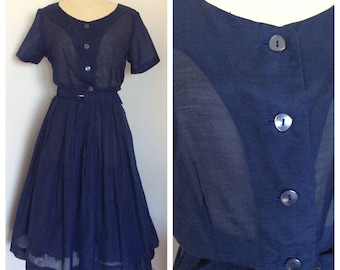 1950s navy blue shirtwaist dress NOS– sz M