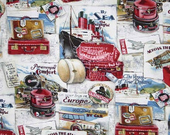 Voyage Cruise Fabric with Suitcase By the Yard or Half Yard Travel Fabric with Luggage Cotton Quilting Fabric t2/22