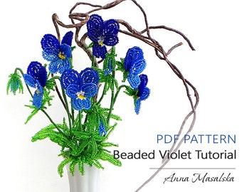 PDF Pattern French Beaded Flower Beaded Violet Tutorial Beading Seed Bead Flower Tutorial