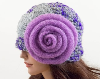 Crochet Beanie Hat with Large Flower - Purple, Gray and Lilac, Size L