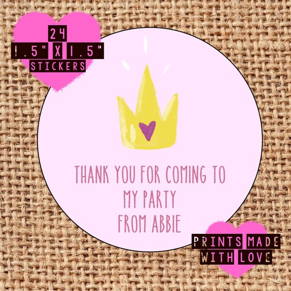 Thank you for coming to my party personalised stickers labels princess crown 24 labels de printsmadewithlove en etsy studio