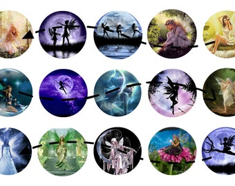 15 Fairy One Inch Circles for Digital Download