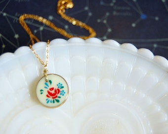 vintage milk glass rose charm necklace - gold plated chain
