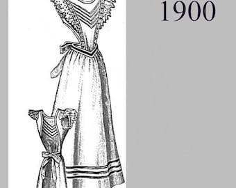 Apron  - Edwardian Reproduction PDF Pattern - 1900's -  made from original 1900 La Mode Illustree pattern