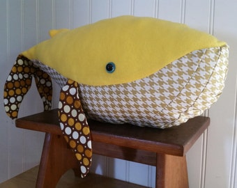 Yellow and Gold Stuffed Humpback Whale Toy - Goldie
