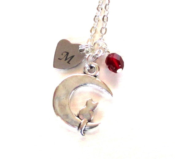 Personalized Cat and Moon Necklace with Glass Bead Birthstone