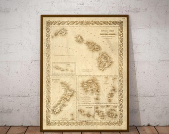 Old hawaii map etsy gumiabroncs Choice Image