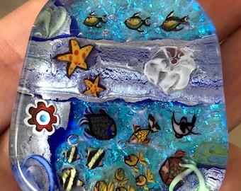 Mary Kennedy Aquarium  Fused Glass Lampwork Bead  Pendant