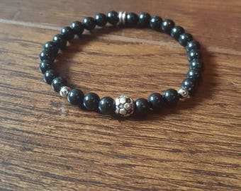 Soccer bracelet, soccer ball, girls bracelet, coach gift, sports bracelet, black and silver
