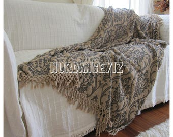Lovely Twin XL Dorm Bedding Summer Blanket Shawl Beige Damask   Sofa Bed Throw    Couch Coverlet
