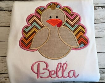 Princess turkey personalized! Perfect for thanksgiving and fall! bodysuit or tshirt!