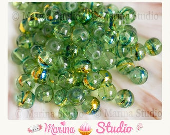 painted green glass metallized effect 8mm 10 beads