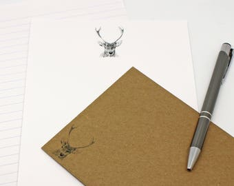 Stag Letter Writing Paper - Letter Writing Set - Sheets and Envelopes - Stag Drawing  Designed By CottageRts Lovely Gift Birthday Present
