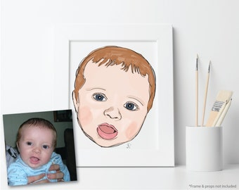 Baby Portrait, Custom Printable Illustration, Digital File: PDF JPG - You Print - Child, Nursery Art