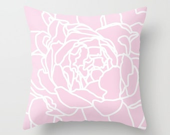 Pink Throw Pillow,  Pink Flower Pillow, Accent Flower Pillow, Modern Flower Pillow, nursery pillow, nursery pillow cover with insert