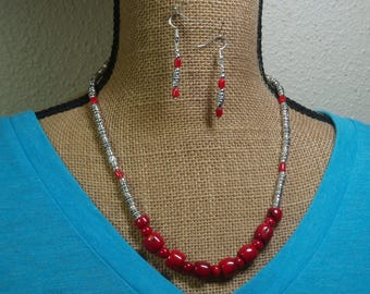 Natural Untreated AAA Grade Red Coral, 925 Hand Stamped Silver Necklace and Earrings