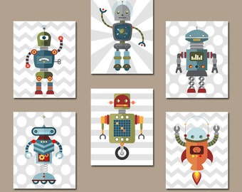 ROBOT Wall Art, Robot Decor, Big Boy Room Pictures, Robot CANVAS or Prints, Robot Theme Nursery Decor, Outer Space Theme, Set of 6 Pictures