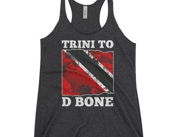 Trini To D Bone| Trinidad and Tobago Distressed Flag- Women's Racerback Tank