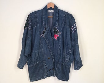 Vintage Batwing Dolman Sleeve Denim Jacket Coat with Leather Patches, Embroidery and Buttons 1980s 1990s