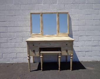 3PC Vanity Desk Antique Shabby Chic Desk Bench Mirror Makeup Table Storage Country French Farmhouse Victorian Bedroom Set CUSTOM PAINT AVAIL