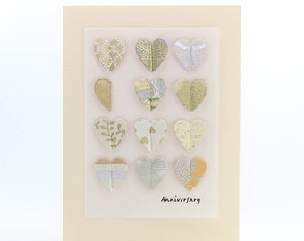 "Handmade Greeting Card - ""Anniversary"" Pop-up Hearts from Fine Art Papers"