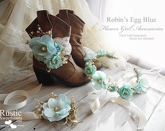 Robin's Egg Blue ~ Flower Girl Accessories ~ Boot Band ~ Flower Crown ~ Wrist Corsage.
