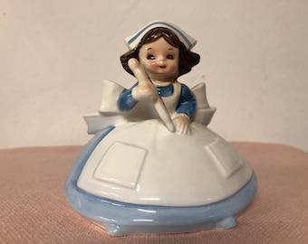 Vintage Lefton Figurine Nurse Blue and White 4704