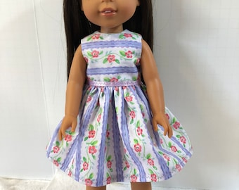 "Wellie Wishers Like 14.5 inch Doll Clothes, Pretty ""PURPLE Ribbons and FLOWERS"" Dress, 14.5"" Dolls like AG Wellie Wishers Doll Clothes"