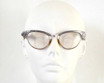 1950s/1960s Silver Tone Aluminum Frame Bi-Focal Cat-Eye Glasses by Universal