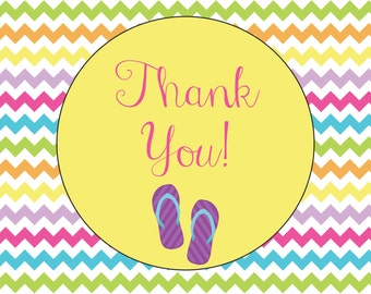 Chevron Flip Flop Summertime Pool Party Thank You Notecard